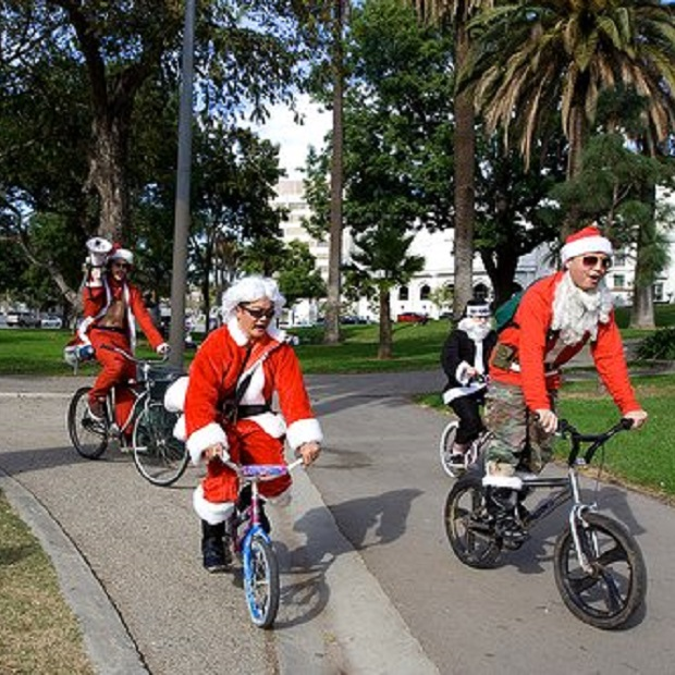 Santa believes in multi-modal transportation also.