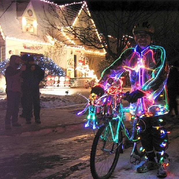 Enjoying the Christmas lights by bike.