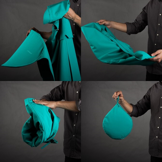 The bike poncho's extended section pops out in a similar way to pop-up tents (Credit: Vanmoof)