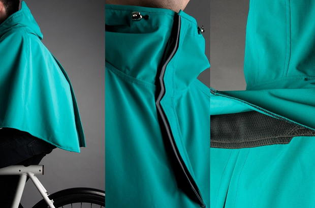 The bike poncho is being designed to be lightweight, breathable and durable. (Credit: Vanmoof)