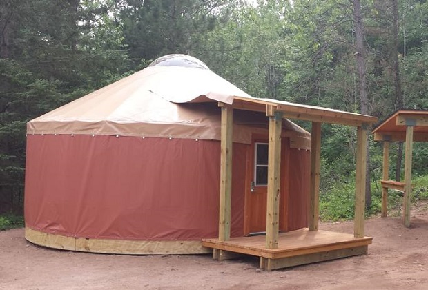One of three yurts available for rent
