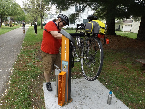 A Pedal MN Bike Repair Station conveniently located in Peterson