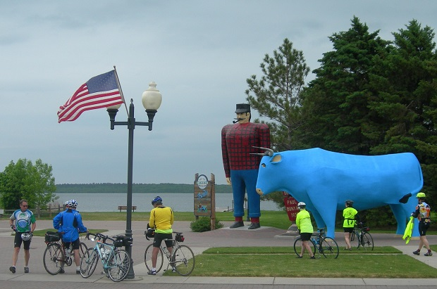 Bikers visiting Paul Bunyan and Babe, in the first city on the Mississppi River, Bemidji.
