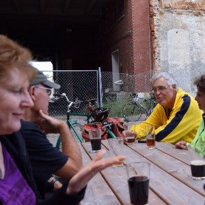 The Blue Heron Bike & Hops Society stops at Flat Earth Brewery, in St. Paul, MN, for beer as they finish up on of their weekly bike/brew tours.
