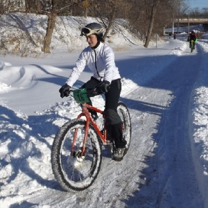 This fat bike cyclist is getting ready to head down to Faribault, this Saturday, where demo bike rentals will be available for beginner and race awards.