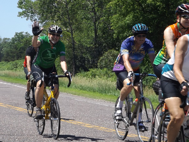 Train & Trail participants riding a the quite river road  along the Mississippi (2014)