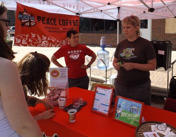 Peace Coffee tent at open Streets NE Mpls, 2014