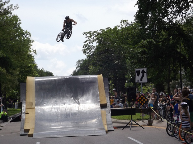The stunt rider exhibition was very popular at Open Streets.