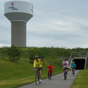 Mayor Mary of Apple Valley, MN riding the city trails with some of her young residents who live there.