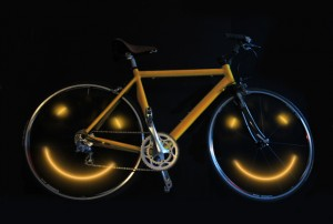 Here is a bike, with smiley faces in the wheel set,  for the article a bicycle can make you happy