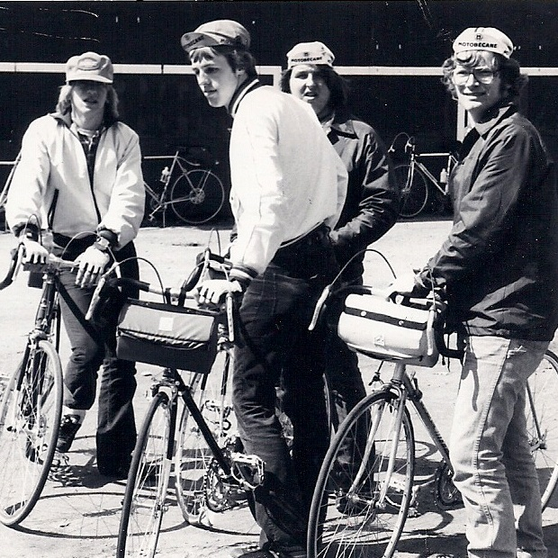 A group of Minnesota Ironman riders from the 60's gathering at a designated reststop.