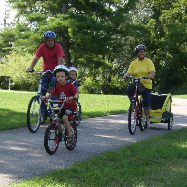 Here is a photo of  some young kids riding with gram-ma and gram-pa on the Root River bike trail, out of Peterson, in Southeast Minnesota.