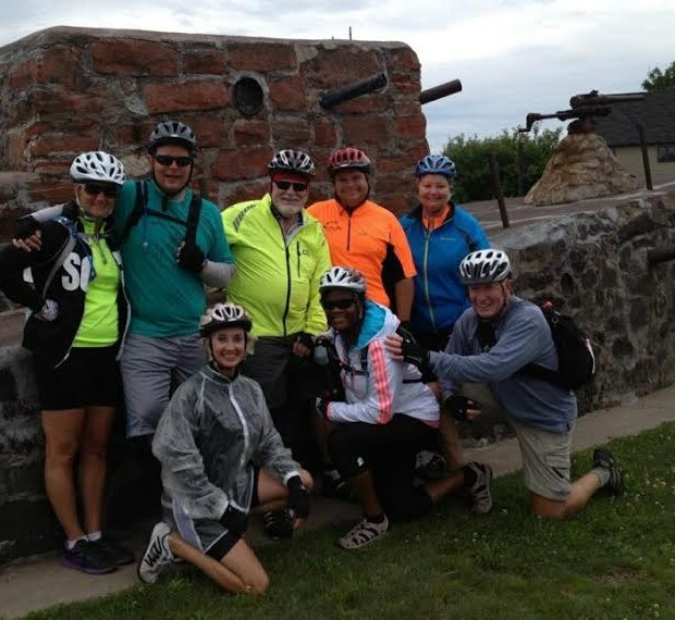 Riders stop for a photo op in front of a historic artillery structure along the U.P. Coast.