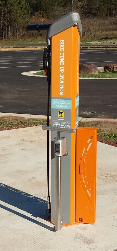 Pump a tire, make an adjustment the tuneup stations is one of the amenities located at the trailhead.