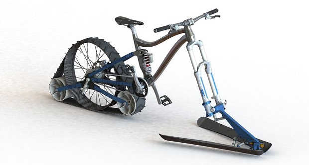 The plans for the bike are to use a rear track drive and front ski setup