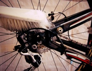 Clean your bike chain with a brush and detergent.