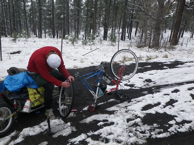 Changing A Flat Bike Tire In The Cold
