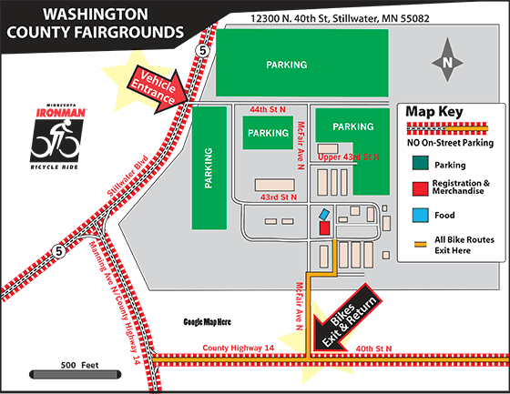 Map showing were to park at the Washington County Fairgrounds