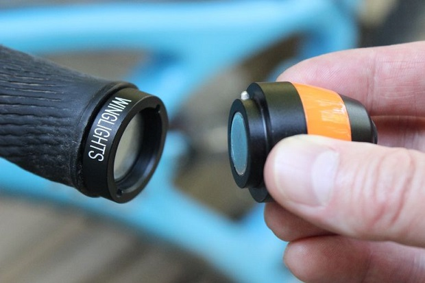 Each WingLight consists of a handlebar plug that replaces one of the bike's existing plugs, and a corresponding waterproof LED module that fits into the end of it (Credit: Ben Coxworth/Gizmag.com)